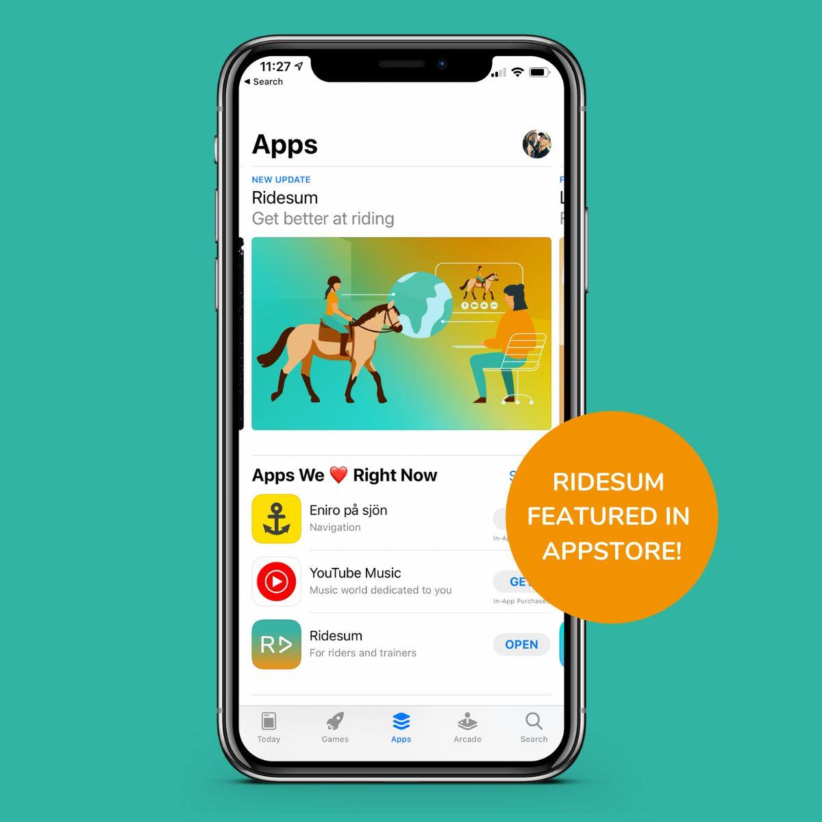 Ridesum uppmärksammans i App Store
