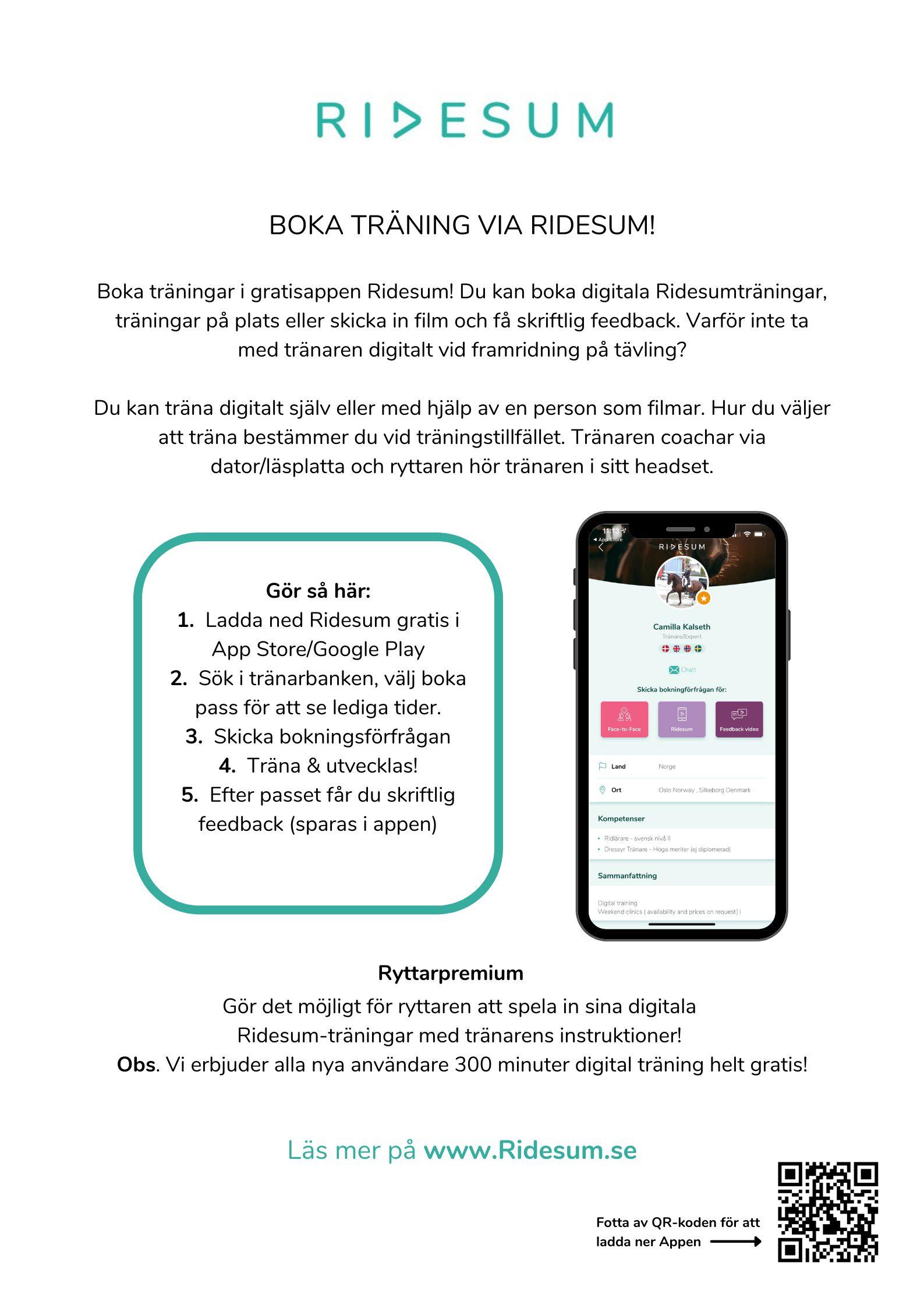 Bild: Boka träning via Ridesum poster