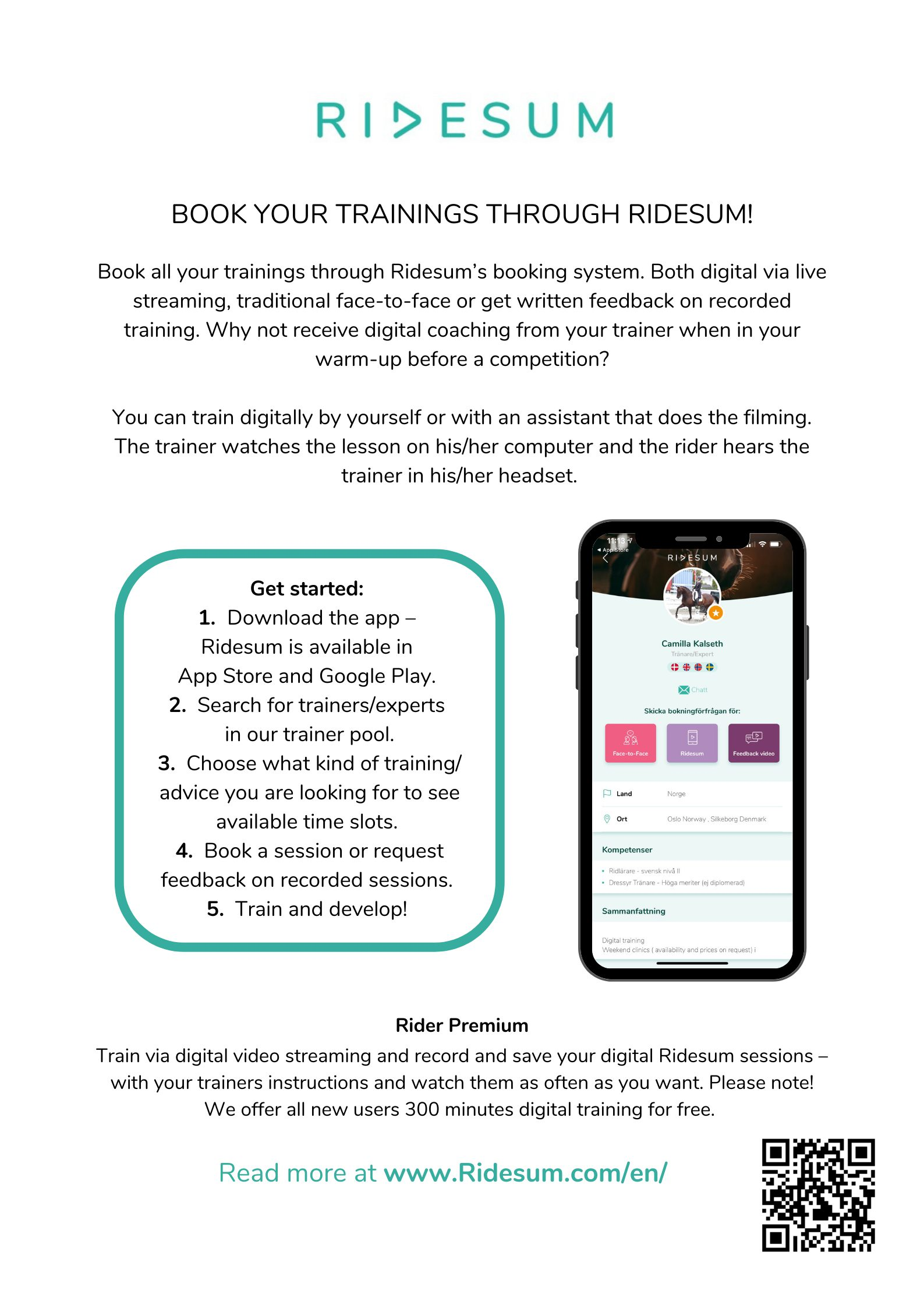 Image: Poster - Book your trainings trough Ridesum
